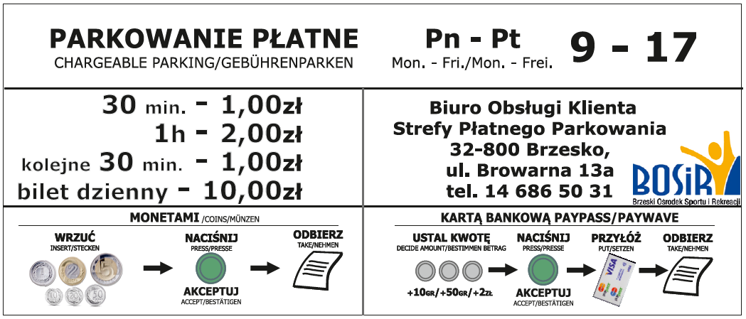Parkowanie płatne pon-pt 9-17, cennik
