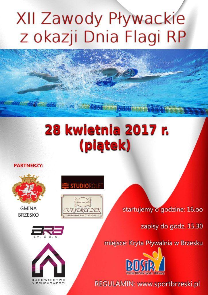 Zawody pływackie w Brzesku - Święto Flagi RP