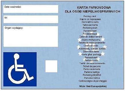rewers karty parkingowej dla osoby niepełnosprawnej