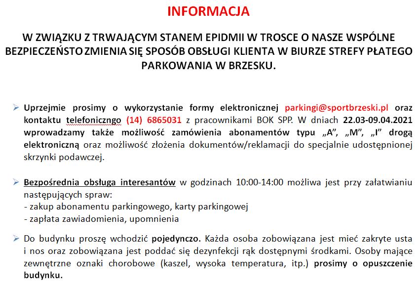 Informacja o sposobie obsługi Klintów SPP Brzesko w czasie pandemii.